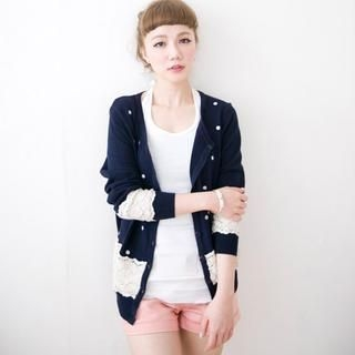 CatWorld - Crochet-Panel Dotted Cardigan