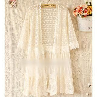 Munai - Elbow-Sleeve Mesh Long Cardigan