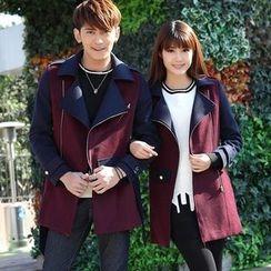 NoonSun - Couple Matching Color Block Woolen Coat