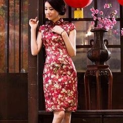 Miss Four Qipao - Cap-Sleeve Flower Print Silk Cheongsam