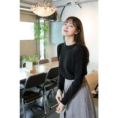 CHERRYKOKO - Crew-Neck Long-Sleeve Knit Top