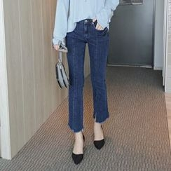 WITH IPUN - Fringe-Hem Boot-Cut Jeans