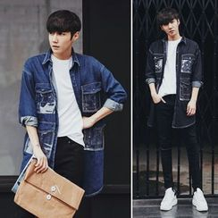 MRCYC - Long-Sleeve Pocket-Accent Denim Coat