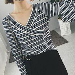 MePanda - Striped V-Neck Bell-Sleeve T-Shirt
