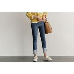 UPTOWNHOLIC - Cuff-Hem Straight-Cut Jeans