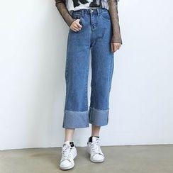 ELLY - Washed Wide Leg Jeans