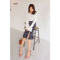 PPGIRL - Slit-Front Checked Midi Skirt