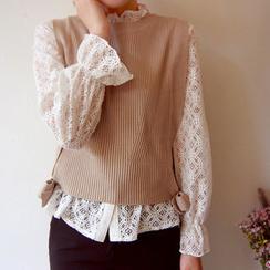 LEELIN - Sleeveless Tie-Hem Knit Top