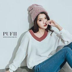 PUFII - V領配色縮擺針織上衣