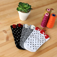 59 Seconds - Set of 3: Polka Dot Bow Print Socks