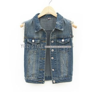 YOZI - Washed Denim Vest