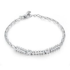 MaBelle - 14K White Gold Diamond Cut Flower Bracelet (6.5')