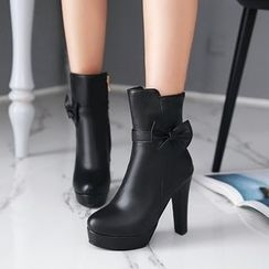 Pastel Pairs - Bow High Heel Short Boots