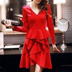 Sherbo - Long-Sleeve Ruffled Party Dress