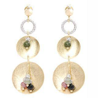 Keleo - 18K White & Yellow Gold Dangling Earrings with Colorstones