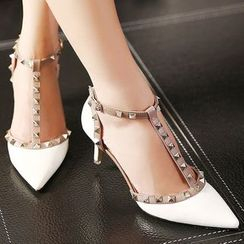 Monde - Studded Ankle Strap Pointed Pumps