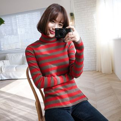WITH IPUN - Turtleneck Rib-Knit Stripe Sweater