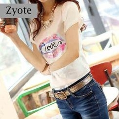 Zyote - Short-Sleeve Sequined Print T-Shirt