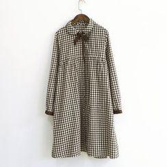 兰芝 - 格子领结带衬衫裙
