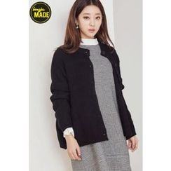 BONGJA SHOP - Round-Neck Drop-Shoulder Cardigan