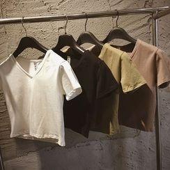 Whitney's Shop - Plain V-neck Short-Sleeve T-shirt