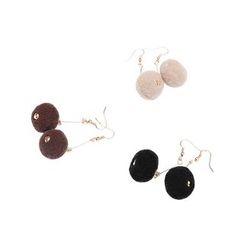 Heynew - Pompom Drop Earrings