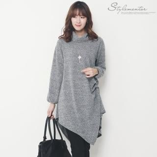 Stylementor - Asymmetric Hem Turtleneck Knit Dress
