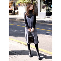 DEEPNY - Faux-Leather Strap Glen-Plaid Jumper Dress