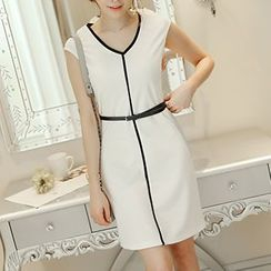 Q.C.T - V-Neck Cap-Sleeve Sheath Dress