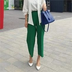 LIPHOP - Band-Waist Zip-Side Wide-Leg Pants