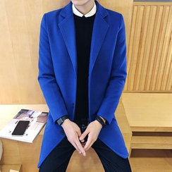 Alvicio - Plain Notch Lapel Long Coat