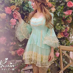 Candy Rain - Long-Sleeve Lace Panel Tiered Dress