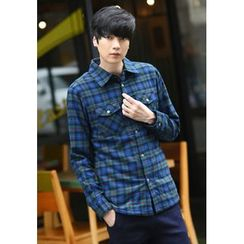 PLAYS - Fleece-Lined Pocket-Front Checked Shirt