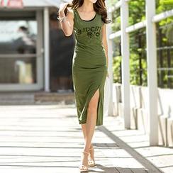 Champi - Lettering Side Split Midi Tank Dress