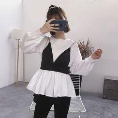 ERE - 套裝: 荷葉邊襯衫 + 吊帶上衣