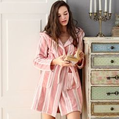 Mydream - Striped Hooded Robe