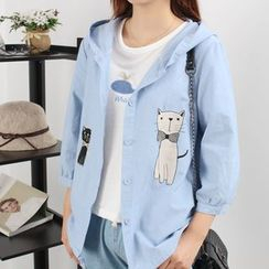 Edelweiss - Cat Embroidered Hooded Light Jacket
