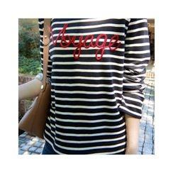 LEELIN - Round-Neck Striped T-Shirt