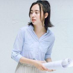 布丁坊 - V領中袖襯衫