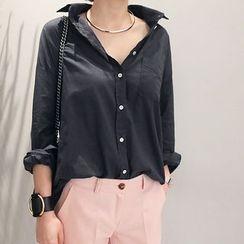 NANING9 - Pocket-Front Cotton Shirt