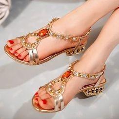 Cinnabelle - Embellished Block Heel Sandals