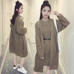 Meteor - 套裝:長外套 + 無袖針織連衣裙