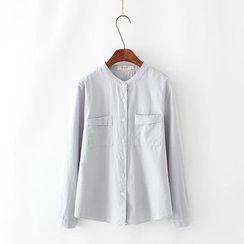Tangi - Band Collar Long-Sleeve Shirt