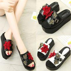 Sleeko - Applique Wedge Mule Sandals