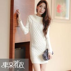 Tokyo Fashion - Off-Shoulder Cable-Knit Sweater Dress