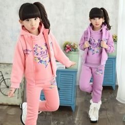 Pegasus - Kids Set : Heart Print Hoodie + Sweatpants + Jacket