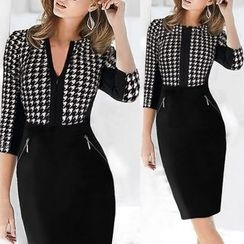 Forest Of Darama - Houndstooth Panel 3/4 Sleeve Pencil Dress