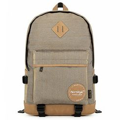 Mr.ace Homme - Contrast-Trim Padded Strap Backpack