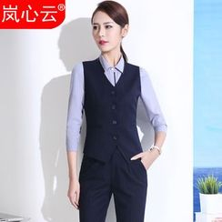 Skyheart - Buttoned Vest / Piped Dress Shirt / Set: Vest + Dress Pants / Skirt / + Dress Shirt