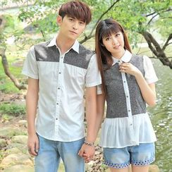 Igsoo - Couple Matching Panel Short-Sleeve Shirt